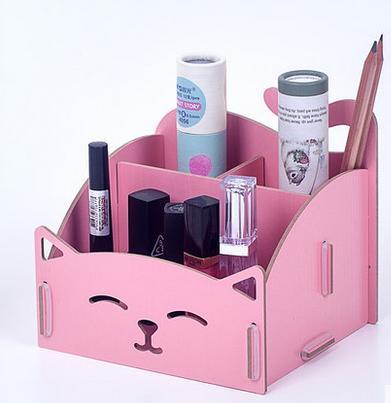 卡里姐妹 买二送笔筒 diy木质化妆品收纳盒 可爱猫咪笔筒 便签盒