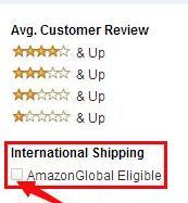 筛选出支持国际运输商品